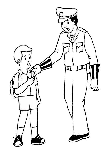 Gambar mewarnai Polisi dan anak sekolah