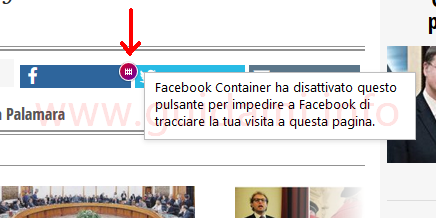 Icona cancelletto dell'addon Facebook Container su pulsante Facebook in Firefox