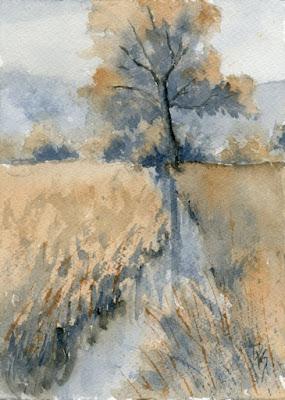 watercolor two tone painting art landscape rural