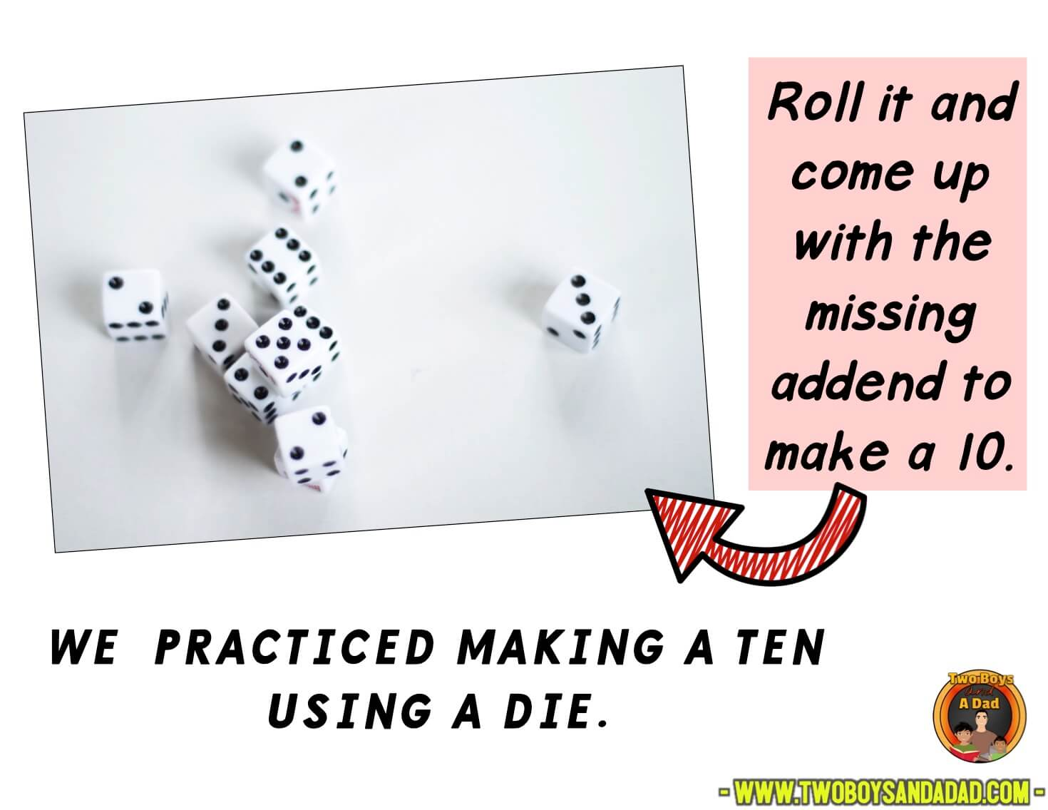 Roll dice game to make a ten