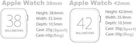 Apple watch 38mm and 42mm size