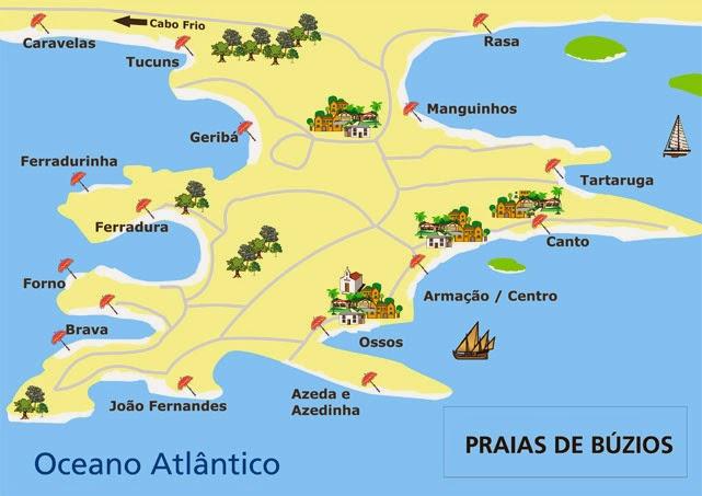 mapa com as praias de búzios