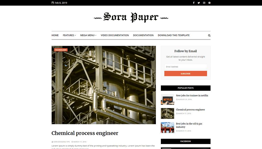 Sora Paper - Responsive Personal Blog Blogger Template