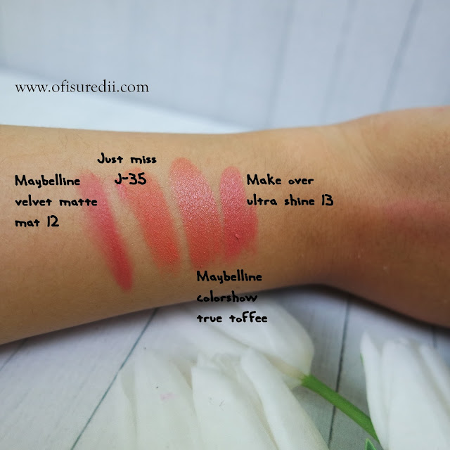 perbandingan swatch nude lipstick