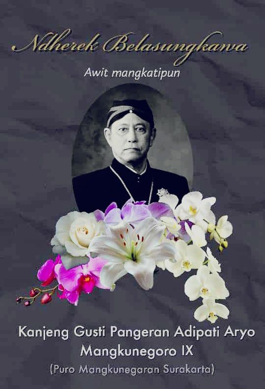 Kabar Duka Wafatnya KGPAA Raja Kraton Mangkunegara IX Solo
