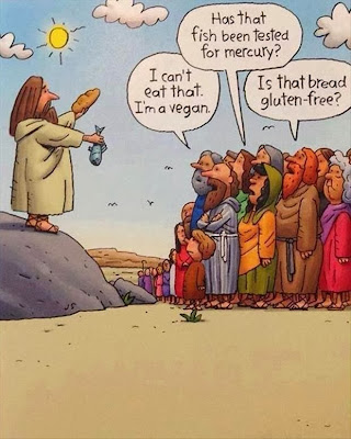 I can't eat that. I'm a vegan.  Has that fish been tested for mercury?  Is that bread gluten-free? Cartoon Image