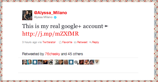 Alyssa Milano tweet: this is my real Google+ account