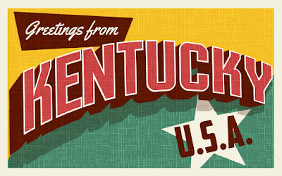 greetings from Kentucky vintage post card in yellow, green, and red with a white star