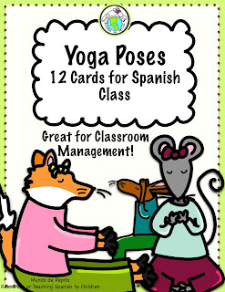 Yoga Poses 12 Cards for Spanish Class