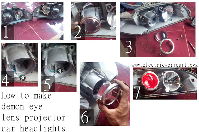 how to make demon eye lens projector headlights