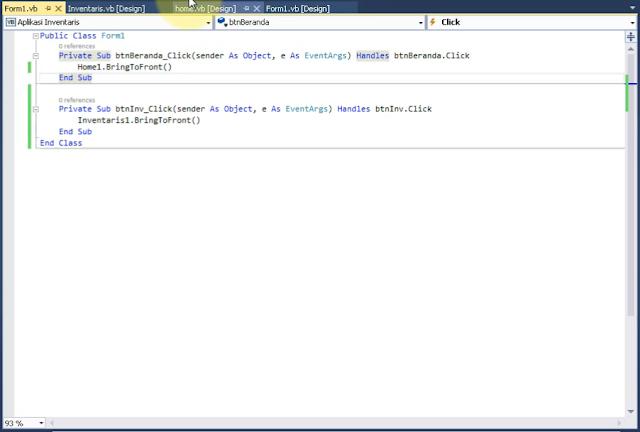 Kode untuk mengatur letak form pada menu Aplikasi Inventaris menggunakan vb.net