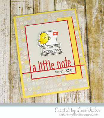 A Little Note card-designed by Lori Tecler/Inking Aloud-stamps and dies from Lawn Fawn