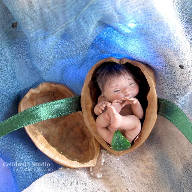 Walnut Elf ooak miniature polymer clay