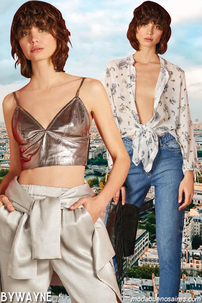 Tops metalizados y blusas anudadas primavera verano 2020.
