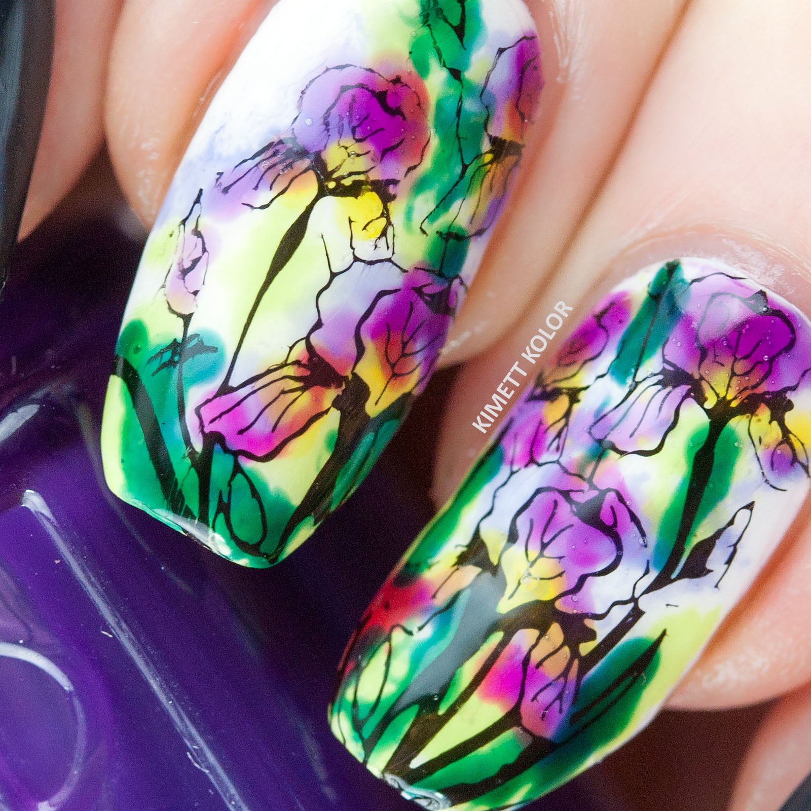Macro nail art made with lead lighting over stamped iris