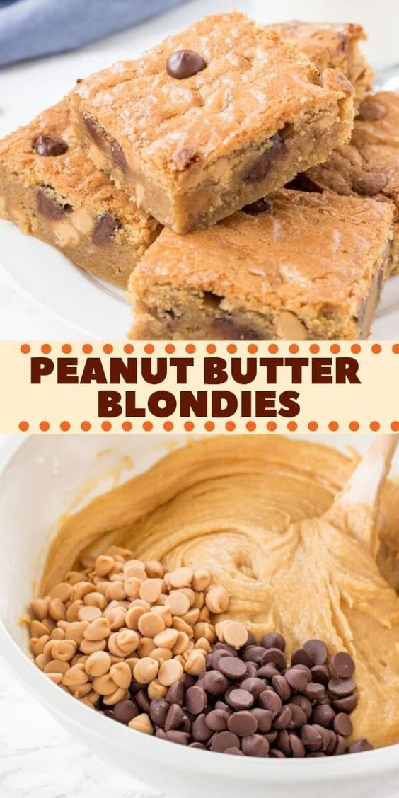 Dense, fudgy, chewy peanut butter blondies filled with chocolate chips. Super easy & no mixer required - this easy recipe is perfect for any peanut butter lover.