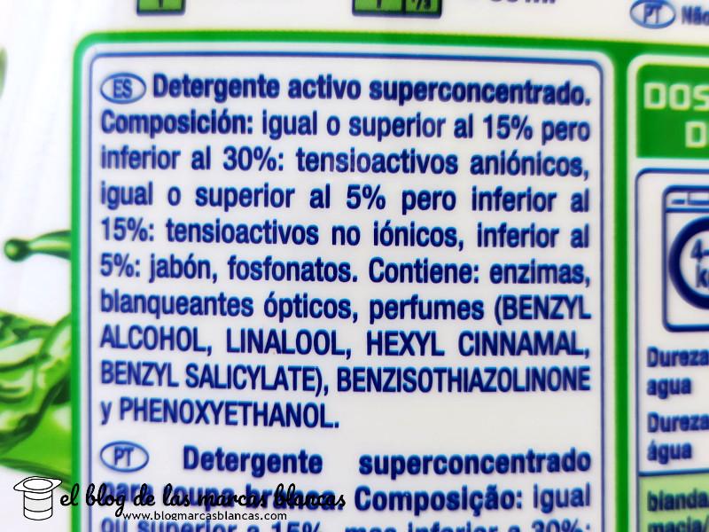 Composición del detergente líquido superconcentrado Formil Activo (Lidl) en El Blog de las Marcas Blancas