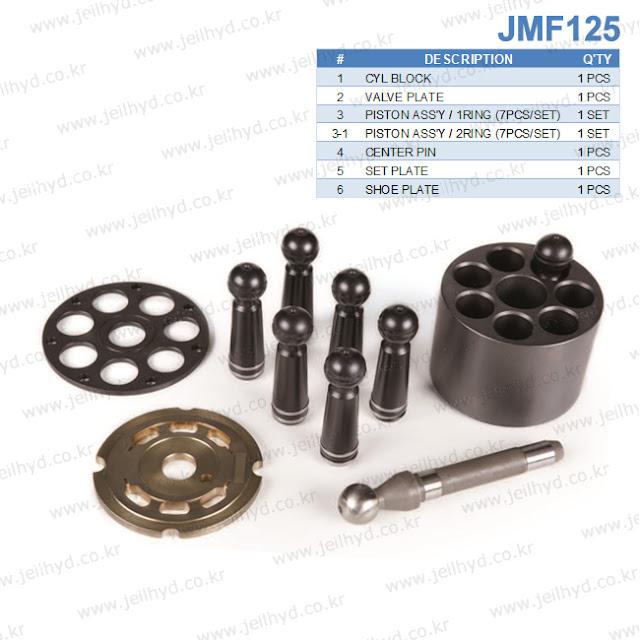 JMF-125 JMF125 SWING MOTOR PARTS CYL BLOCK VALVE PLATE PISTON ASS'Y / 1RING (7PCS/SET) PISTON ASS'Y / 2RING (7PCS/SET) CENTER PIN SET PLATE SHOE PLATE