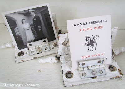 turn old hinges into unique picture and card holders