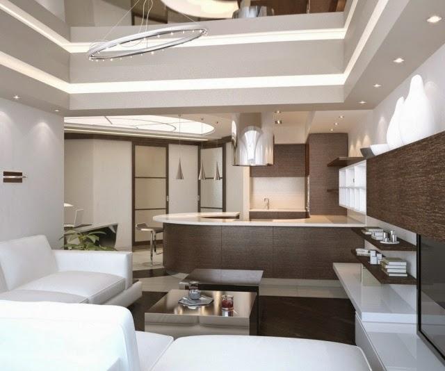 Sala de estar con cocina abierta - Colores en Casa