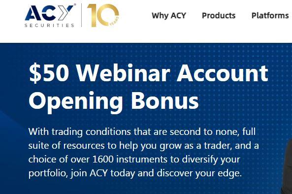 Bonus Forex Tanpa Deposit ACY Securities $50