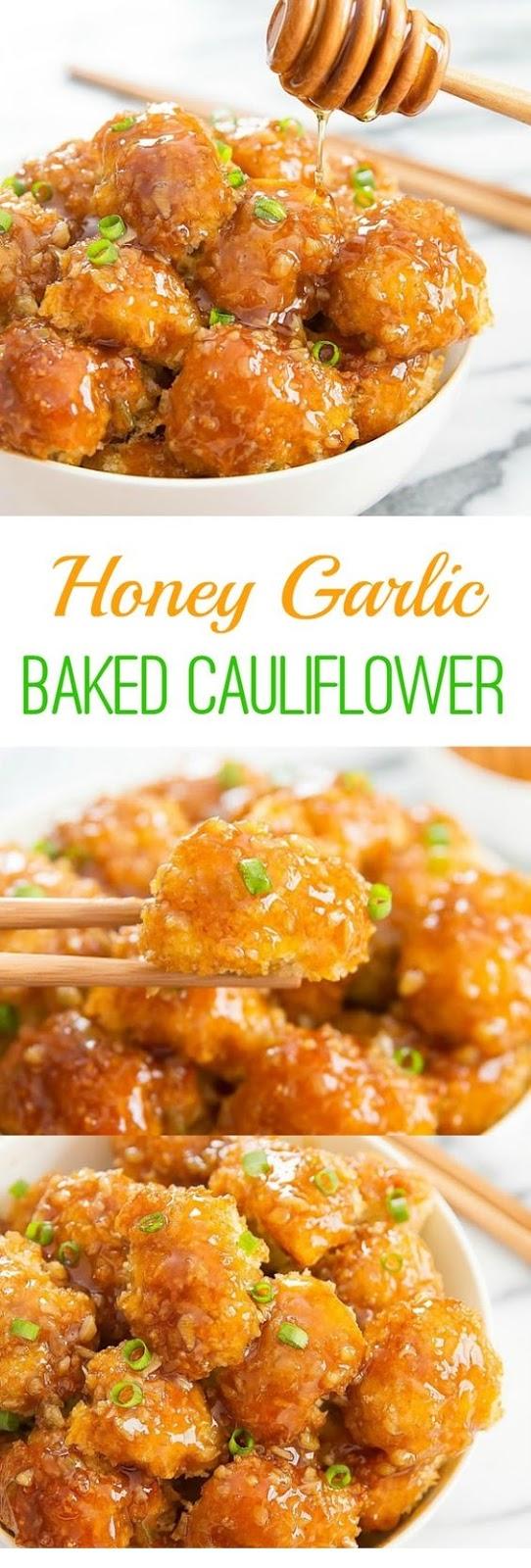 Honey Garlic Baked Cauliflower