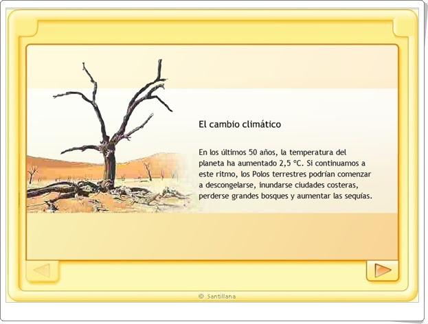 """""""El cambio climático"""" (Educación Ambiental de Primaria). Santillana en Red."""