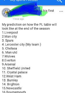 .Liverpool   2.Leicester City   3.Man city  4.Chelsea   5.Tottenham H...   6.Manchester...   7.Sheffield Uni...   8.Wolverhampt...   9.Crystal Palace   10.Arsenal   11.Newcastle U...   12.Burnley   13.Brighton & H...   14.AFC Bourne...   15.West Ham U...   16.Everton   17.Aston Villa   18.Southampton   19.Norwich City   20.Watford  - sportboss.com.ng