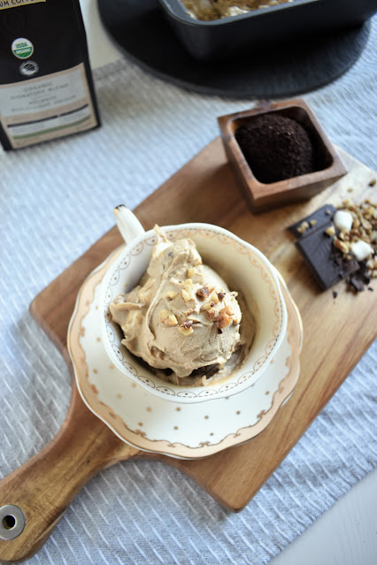 Vegan Coffee Ice Cream with marshmallow, chocolate, and toasted walnuts