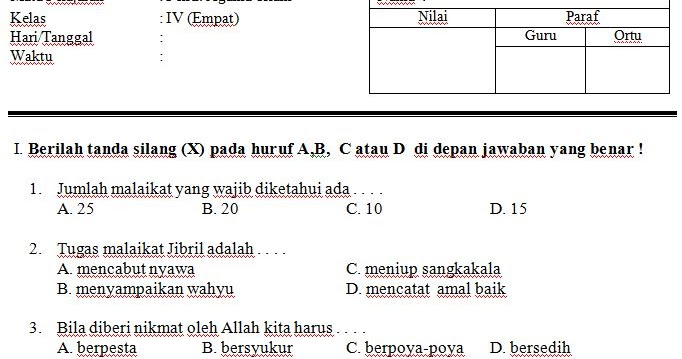 Download Contoh Soal Uts Sd Mi Kelas Iv Semester 2 Mata Pelajaran Pendidikan Agama Islam Format