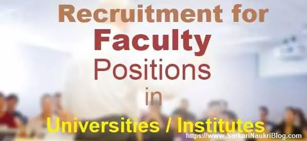 Faculty Vacancy in Indian Universities and Institutes
