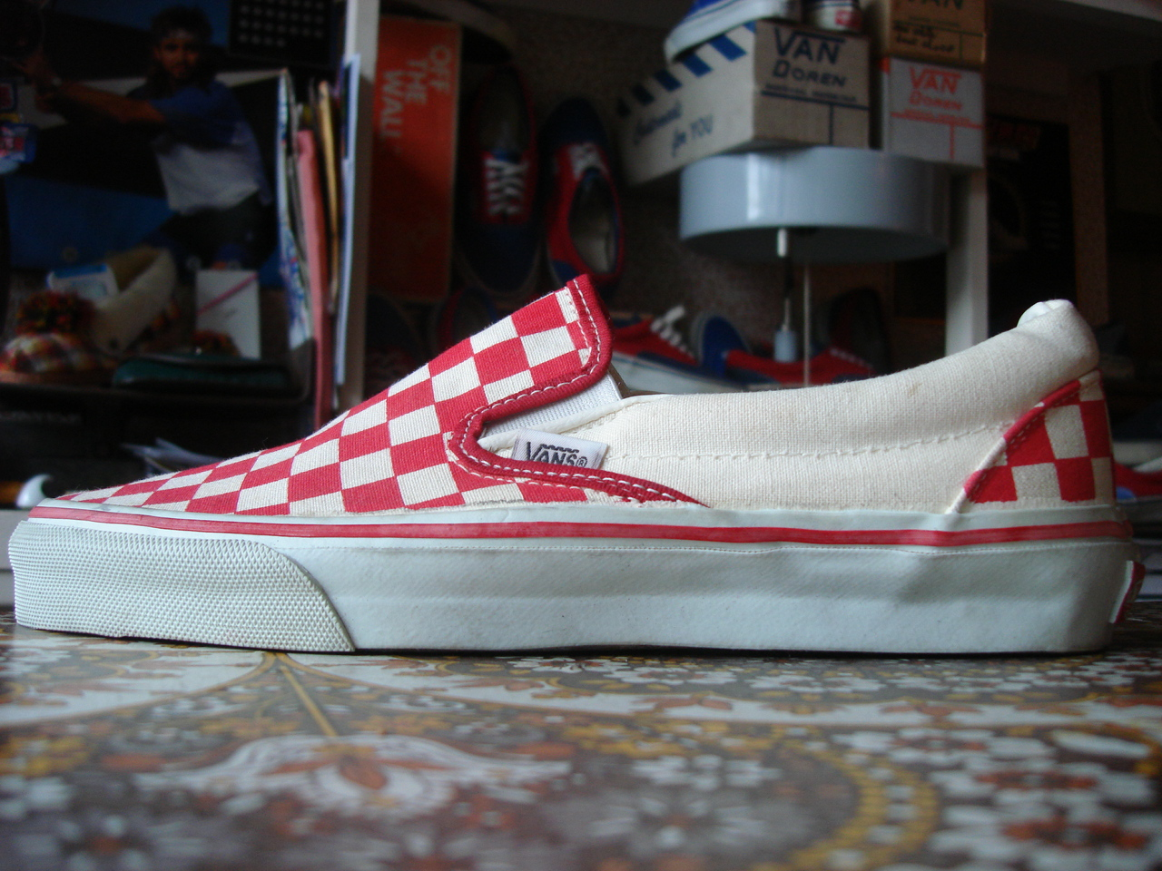 a897b4e9c1 vintage VANS red white checkerboard SLIP-ON style  98 MADE IN USA 90 s off  the wall US9 bmx