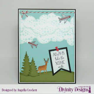 Divinity Designs Stamp Set: Adventure Awaits, Mixed Media Stencil: Bubbles, Dies: USA Map, Cloud Borders, Large Banners, Curvy Slopes, Trees and Deer, Pierced Rectangles