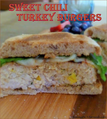 Sweet Chili Turkey Burgers, lower in fat, bursting with fresh flavors, perfect for any cookout. | Recipe developed by www.BakingInATornado.com | #recipe #dinner