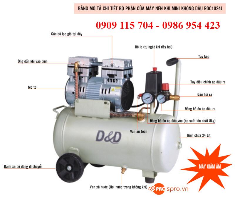 Máy bơm hơi, máy nén khí mini không dầu tp HCM