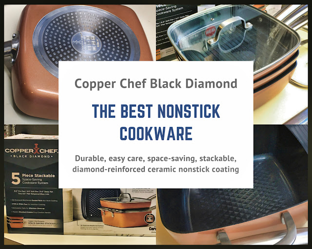 Image - title and photo collage for Copper Chef Black Diamond Nonstick Cookware review by Margaret Schindel