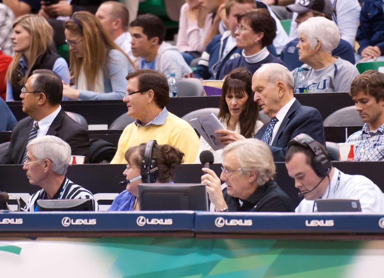 Elder Nelson at BYU basketball game.