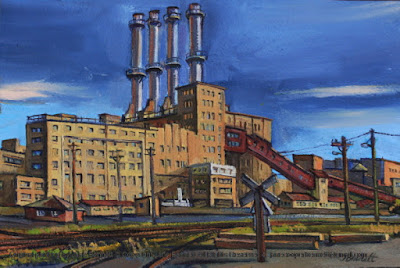 Plein air oil painting of Pyrmont Power Station and Pyrmont Goods Yard by industrial heritage artist Jane Bennett
