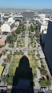 A long Shadow is cast by City Hall in Los Angeles.
