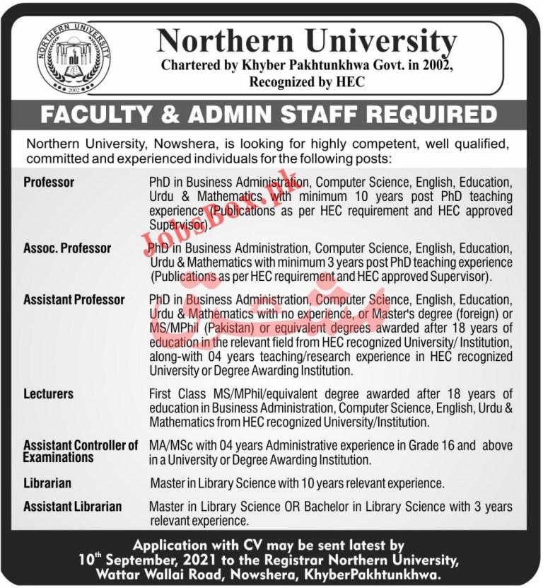 www.northern.edu.pk - Northern University Jobs 2021 in Pakistan