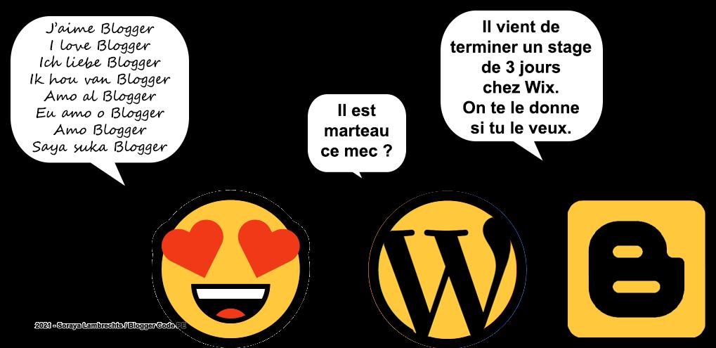 Blogger Humour - Le smiley-amoureux devenu dingue après avoir passé 3 jours chez wix et en découvrant les fonctionnalités Blogger.