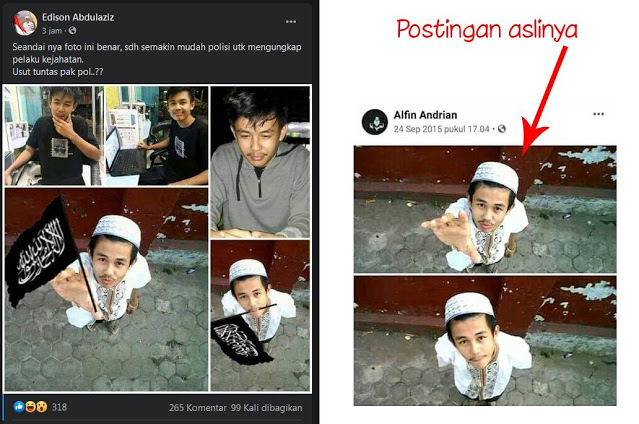 Fitnah dan Hoax Para BuzzeRp, Foto Pelaku Penusukan Syekh Ali Jaber Diedit Lagi Megang Bendera Tauhid