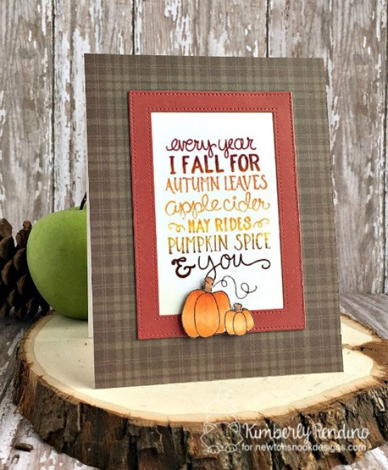 Fall Pumpkin ombré card by Kimberly Rendino | Fall-ing For You Stamp set by Newton's Nook Designs #newtonsnook #pumpkinspice #coffee