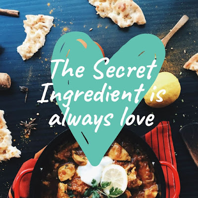 food background with text saying the secret ingredient is always love