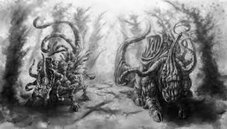 Une représentation de Nug et Yeb, par David Lewis Johnson