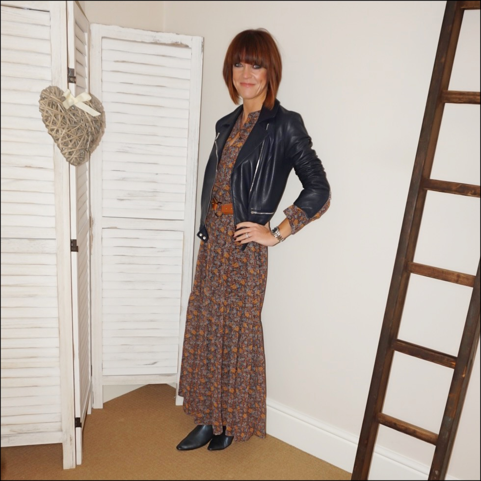 my midlife fashion, massimo dutti leather biker jacket, mango floral chiffon dress, zara kitten heel ankle boots, and other stories studded waist belt