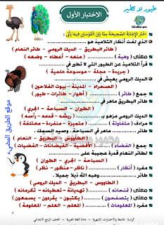 نماذج امتحانات لغة عربية للصف الرابع الابتدائي الترم الثاني لمستر محمود مصطفى خشبة، كراسة متابعة شهرية