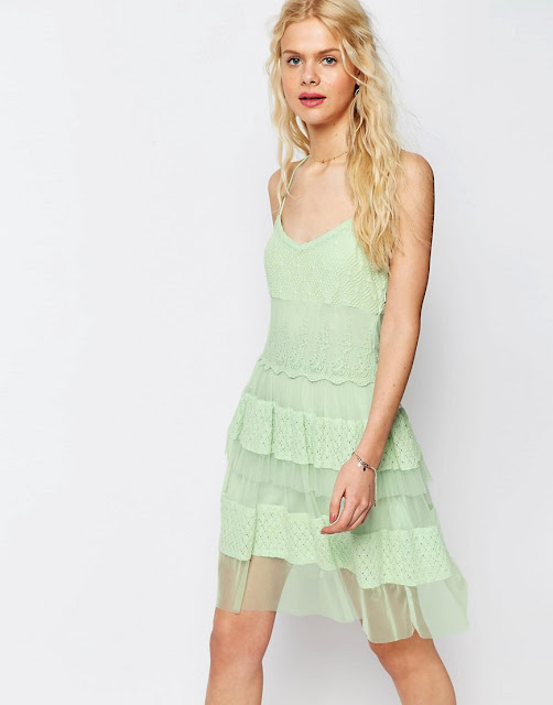 mint green lace dress, mint green dress, pale green sun dress, green tiered lace dress,