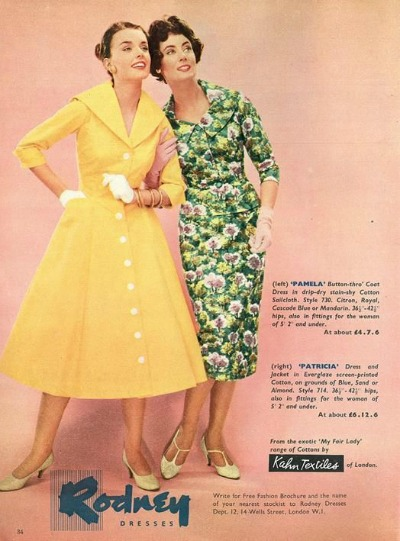 Two Models in Rodney Dresses 1950's Shirtwaist Dress Ad