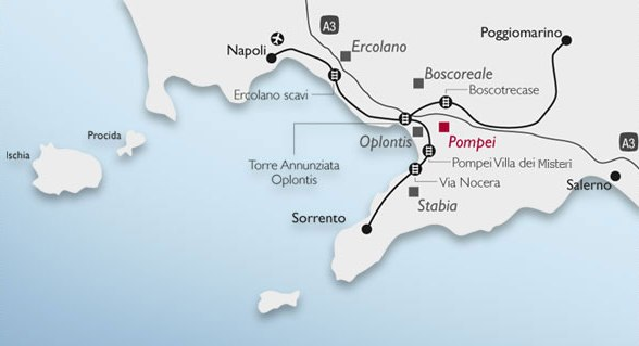 Mapa para ir de Napoles a Pompeya